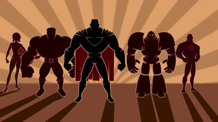 gigante : Looping animation of team of superheroes posing.