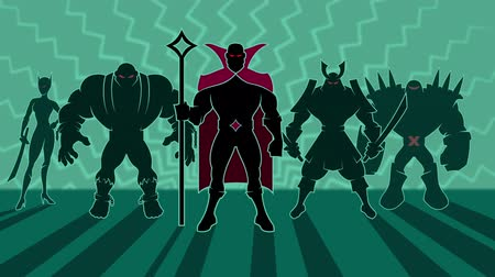 czarodziej : Looping animation of team of supervillains posing. Wideo