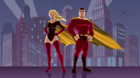 kahraman : Looping animation of male and female superheroes, posing in front of cityscape.