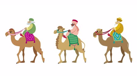 moudrý : The three wise men and their camels walking cycle animation.