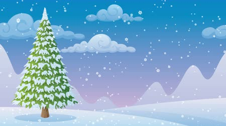 kopya : Cartoon winter landscape with Christmas tree and copyspace.