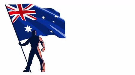 предъявитель : Isolated flag bearer holding the flag of Australia.