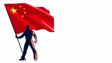 предъявитель : Isolated flag bearer holding the flag of China. Стоковые видеозаписи