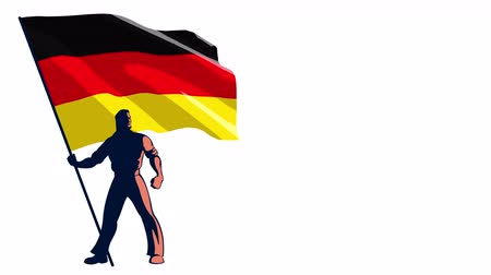 bearer : Isolated flag bearer holding the flag of Germany. Stock Footage