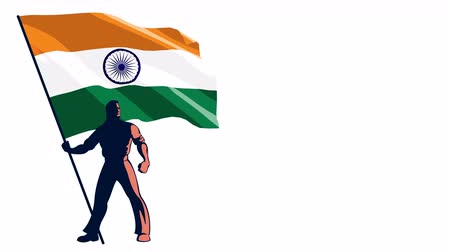 предъявитель : Isolated flag bearer holding the flag of India.