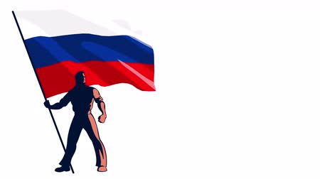 предъявитель : Isolated flag bearer holding the flag of Russia.
