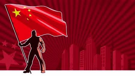 propaganda : Flag bearer holding the flag of China over grunge animated background with copy space.