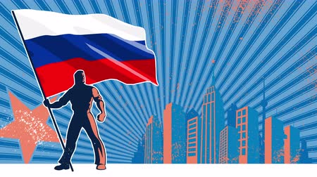 предъявитель : Flag bearer holding the flag of Russia over grunge animated background with copy space.