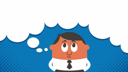 düşünürken : Cartoon of thinking man with copyspace in his thoughts bubble.
