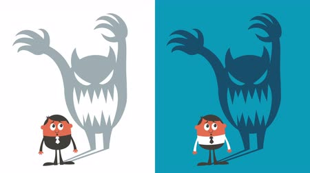 fantasma : Animation of man haunted by his shadow in 2 color versions.