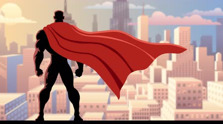 kahraman : Looping animation of superhero watching over city. Stok Video