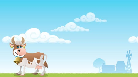 dobytek : Cartoon cow grazing on meadow.