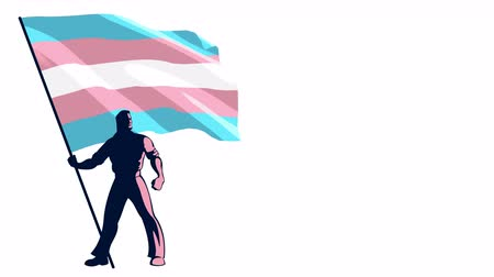 предъявитель : Looping animation of man holding the transgender pride flag. Alpha channel included. Стоковые видеозаписи