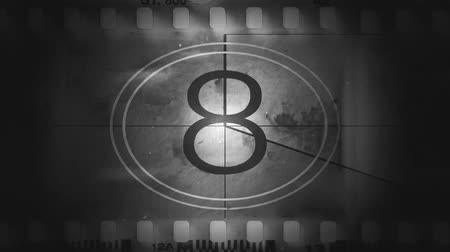 лента : Movie film with a countdown in black and white
