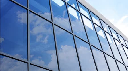 glass structure : Glass facade with reflection of clouds Stock Footage