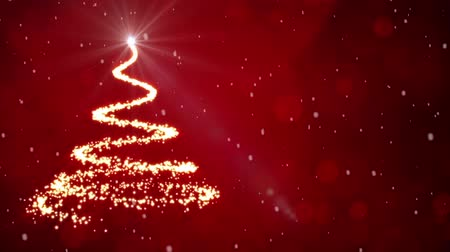 рождественская елка : Christmas tree light particles on red background with snowflakes falling Стоковые видеозаписи