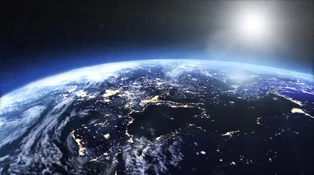 Satellite view of the earth at night Stok Video