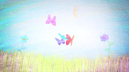 jardim : Cartoons made with pencil of a spring landscape with flowers and butterflies Vídeos
