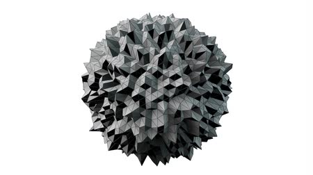 geometric : 3D Animation - Abstract irregular spherical shape rotating