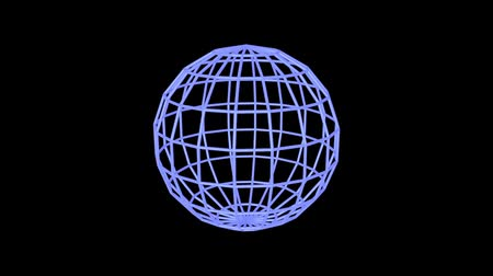 geometric : 3D Animation - Blue sphere rotating edges on black background Stock Footage