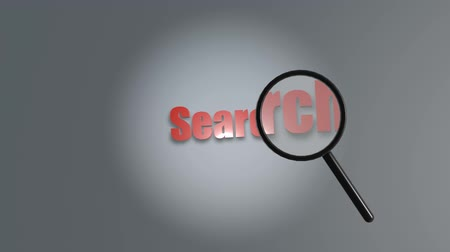 detectives : 3D animation - Magnifying glass passing in front of the word search