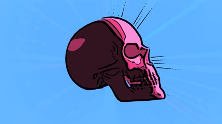 Sketch of a pink skull spinning on blue background