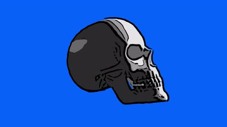 headwear : Sketch of a skull spinning on blue background Stock Footage