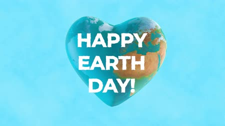 фасонный : 3D animation - Planet earth with heart shape with Happy Earth day text