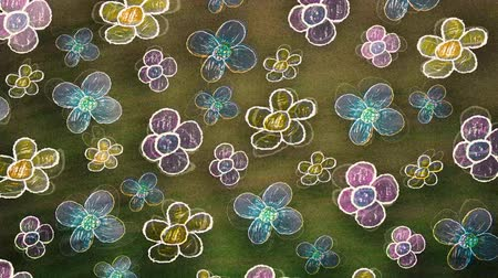 ручной работы : Cartoon flowers background made with colored pencils
