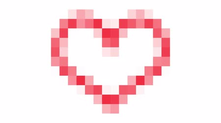 Red pixel heart animation Stok Video