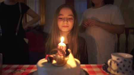 Little girl blowing the candles on her birthday cake Stok Video