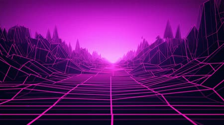 3D animation - Loopable retro grid landscape with VHS style