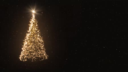 3D animation - Christmas tree of light particles on black background