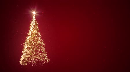 3D animation - Christmas tree of light particles on red background