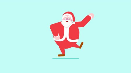 Graphic animation of Santa Claus dancing Stok Video
