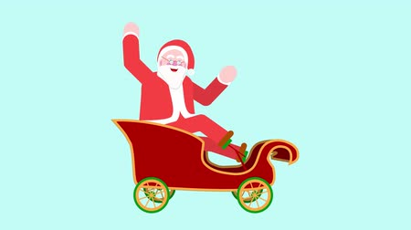 Graphic animation of Santa Claus riding a pedal sled