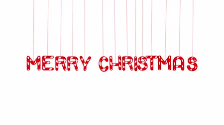 Animated Merry Christmas text with letters hanging from threads