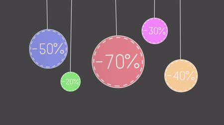 otuzlu yıllar : Animation of a discount tags hanging thread