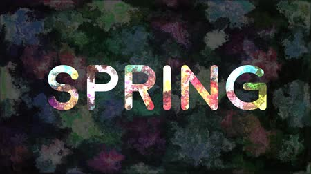 Colorful text SPRING with abstract floral texture animation
