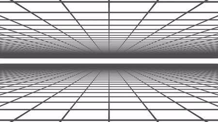 3D animation - Abstract background of a black grid on white animated loop