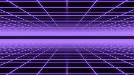 3D animation - Abstract background of a purple neon grid animated loop