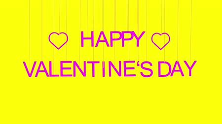 Animated HAPPY VALENTINES DAY text with pink letters hanging from threads on yellow background