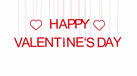 Animated HAPPY VALENTINES DAY text with red letters hanging from threads on white background