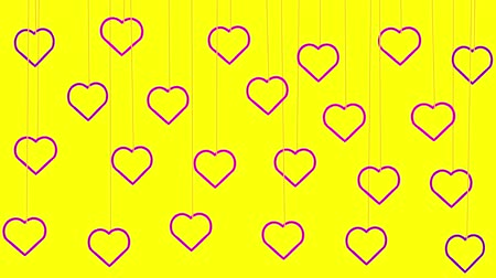 Animated pink hearts shapes hanging from threads on yellow background