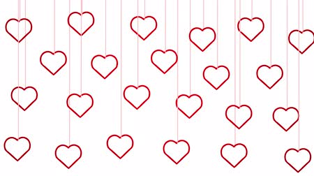Animated red hearts shapes hanging from threads on white background Stok Video