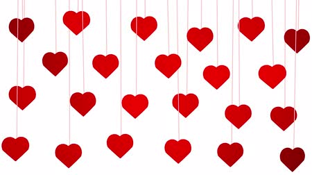 Animated red hearts shapes hanging from threads on white background Vidéos Libres De Droits