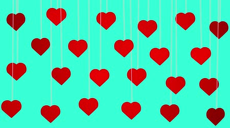 Animated red hearts shapes hanging from threads on turquoise background Stok Video