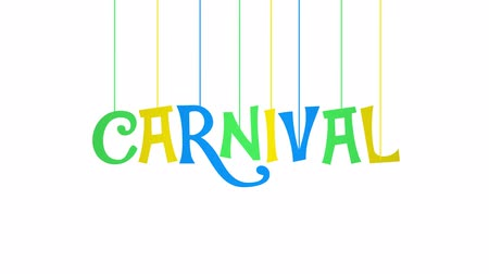 празднование : Animated CARNIVAL text with letters hanging from threads on white background