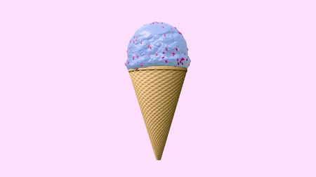 mókás : 3D animation - Ice cream cone rotating with different colors and flavors Stock mozgókép