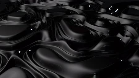 3D animation - Abstract swirling loop texture of black glossy fluid Stok Video